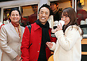 January 12, 2017, Tokyo, Japan - McDonald's Japan president Sarah Casanova (L) and Japanese actor Toshio Kakei (C) attend a promotional event for McDonald's new coffee and they distribute free samples to customers in Tokyo on Thursday, January 12, 2017. The hamburger restaurant chain will launch the new taste coffee at their restaurants from January 16.   (Photo by Yoshio Tsunoda/AFLO) LWX -ytd-