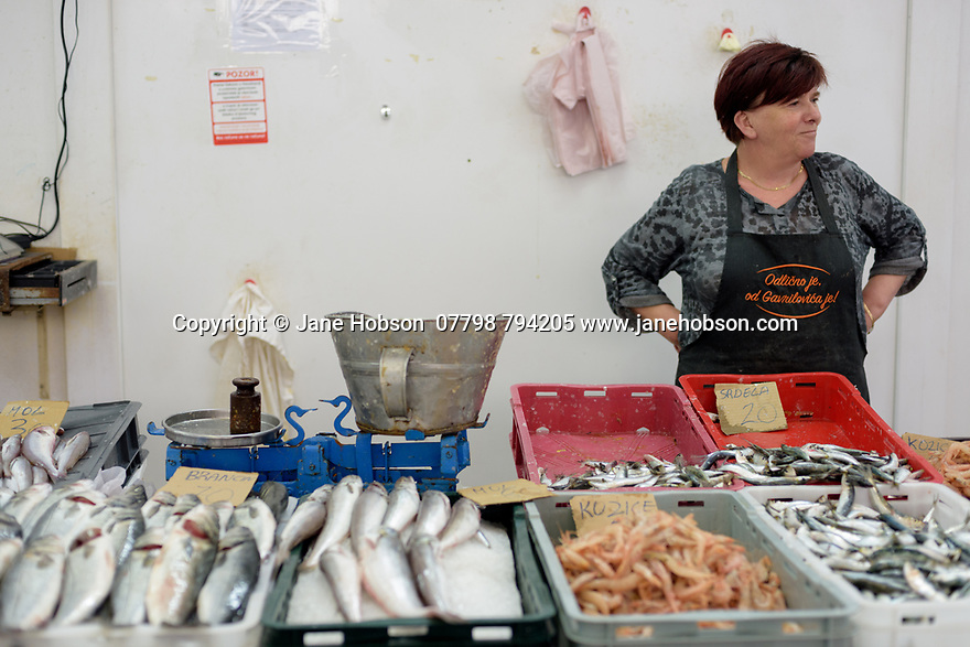 Female stallholder, marketing her fishy wares, in the daily fishmarket, Zadar, Croatia.