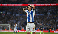 Dejection for Brighton & Hove Albion's Lewis Dunk<br /> <br /> Photographer Rob Newell/CameraSport<br /> <br /> Emirates FA Cup Semi-Final - Manchester City v Brighton & Hove Allbion - Saturday 6th April 2019 - Wembley Stadium - London<br />  <br /> World Copyright © 2019 CameraSport. All rights reserved. 43 Linden Ave. Countesthorpe. Leicester. England. LE8 5PG - Tel: +44 (0) 116 277 4147 - admin@camerasport.com - www.camerasport.com