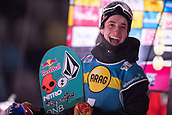 2nd December 2017, Moenchengladbach, Germany;  1st-placed Marcus Kleveland (Norway) laughing at the Big Air men's final of the Snowboard World Cup at the SparkassenPark in Moenchengladbach, Germany, 2 December 2017.