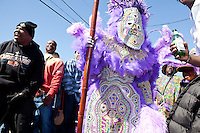 Victor Harris, Big Chief of the Fi Yi Yi, in the Treme neighborhood of New Orleans on Mardi Gras day, February 16, 2010.