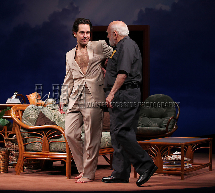 Paul Rudd and Ed Asnerduring the Opening Night Performance Curtain Call for 'Grace' at the Cort Theatre in New York City on 10/4/2012.