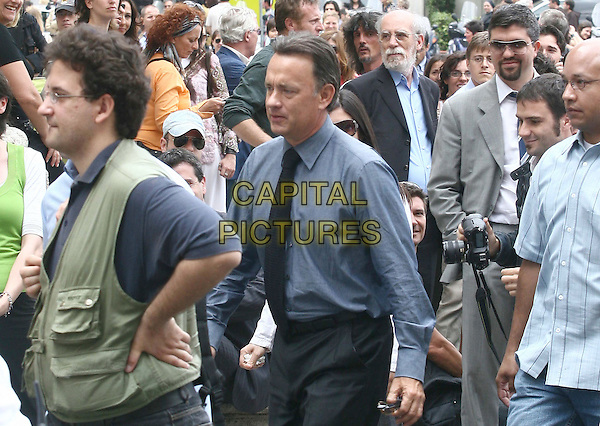 "TOM HANKS.On the set of ""Angels and Demons"", the prequel to The Da Vinci Code, directed by Ron Howard..Rome, Italy, 05 June 2008.filming movie film set half length crowd street .CAP/ADM/LIV.©Pasquino/Liverani/AdMedia/Capital PIctures"