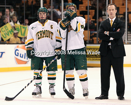 Dean Strong (Vermont - 8), Colin Vock (Vermont - 10), Kevin Sneddon (Vermont - Head Coach) - The Boston College Eagles defeated the University of Vermont Catamounts 4-0 in the Hockey East championship game on Saturday, March 22, 2008, at TD BankNorth Garden in Boston, Massachusetts.