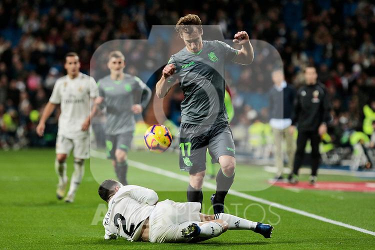 Real Madrid's Dani Carvajal and Real Sociedad's David Zurutuza during La Liga match between Real Madrid and Real Sociedad at Santiago Bernabeu Stadium in Madrid, Spain. January 06, 2019. (ALTERPHOTOS/A. Perez Meca)<br />  (ALTERPHOTOS/A. Perez Meca)