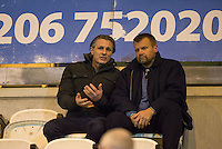 Wycombe Wanderers Manager Gareth Ainsworth sits in the stands alongside Wycombe Wanderers Chairman Andrew Howard as he serves a one match ban during the Sky Bet League 2 match between Colchester United and Wycombe Wanderers at the Weston Homes Community Stadium, Colchester, England on 21 February 2017. Photo by Andy Rowland / PRiME Media Images.