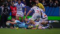 Exeter Chiefs' Henry Slade scores his sides fifth try<br /> <br /> Photographer Bob Bradford/CameraSport<br /> <br /> European Rugby Heineken Champions Cup Pool 2 - Exeter Chiefs v Castres - Sunday 13th January 2019 - Sandy Park - Exeter<br /> <br /> World Copyright © 2019 CameraSport. All rights reserved. 43 Linden Ave. Countesthorpe. Leicester. England. LE8 5PG - Tel: +44 (0) 116 277 4147 - admin@camerasport.com - www.camerasport.com