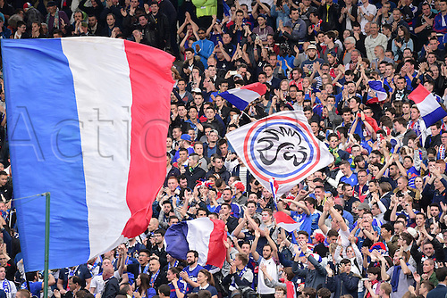 30.05.2016. Nantes, France. International football friendly. France versus Cameroon.  Supporters of France fly their flags