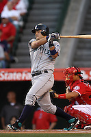 Jesus Montero #63 of the Seattle Mariners bats against the Los Angeles Angels at Angel Stadium on June 5, 2012 in Anaheim,California. Los Angeles defeated Seattle 6-1.(Larry Goren/Four Seam Images)