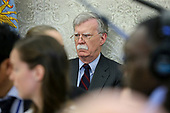 National security advisor John Bolton listens as United States President Donald J. Trump meets with South Korean President Moon Jae-in, in the Oval Office of the White House on May 22, 2018 in Washington DC.<br /> Credit: Oliver Contreras / Pool via CNP