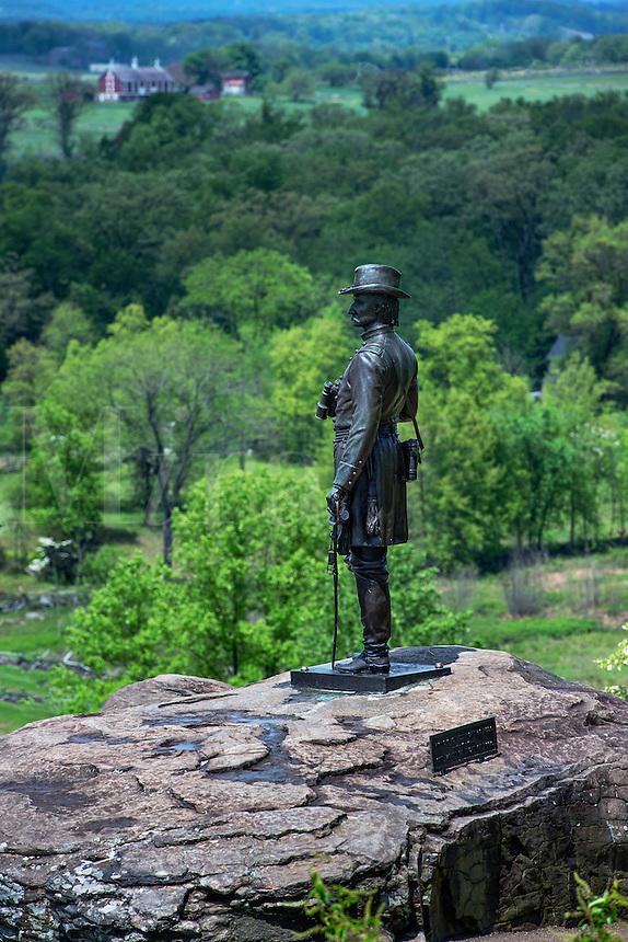 General Kemble Warren at Little Round Top, Gettysburg National Military Park, Pennsylvania, USA