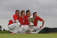 Team Denmark of Torben Henriksen Nyehuus (Captain), John Axelsen, Nicolai Hojgaard and Rasmus Hojgaard are the winners of the Eisenhower Trophy during the WATC 2018 at Carton House, Maynooth, Co. Kildare on Saturday 8th September 2018.<br /> Picture:  Thos Caffrey / www.golffile.ie<br /> <br /> All photo usage must carry mandatory copyright credit (&copy; Golffile | Thos Caffrey)