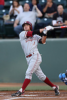Alex Blandino #1 of the Stanford Cardinal bats against the UCLA Bruins at Jackie Robinson Stadium on April 27, 2012 in Los Angeles,California. Stanford defeated UCLA 7-2.(Larry Goren/Four Seam Images)