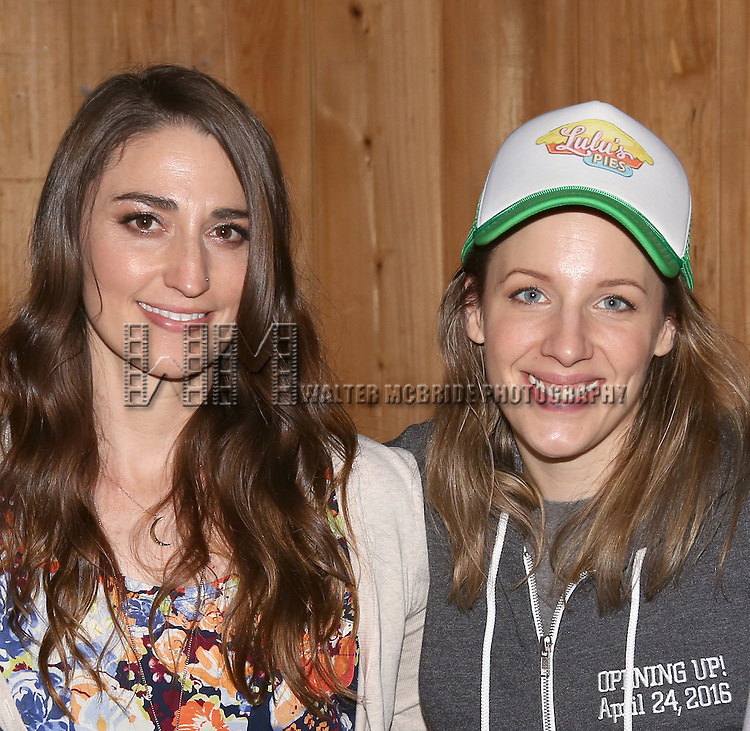Sara Bareilles and Jessie Mueller attend the 'Waitress' Broadway cast recording at MSR Studios on May 2,, 2016 in New York City.