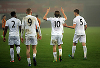 Pictured: George Byers of Swansea City (C) celebrates his goal Monday 13 March 2017<br />Re: Premier League 2, Swansea City U23 v Wolverhampton Wanderers FC at the Liberty Stadium, Swansea, UK