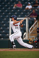 Fort Myers Miracle first baseman Trey Vavra (33) at bat during a game against the Brevard County Manatees on April 13, 2016 at Hammond Stadium in Fort Myers, Florida.  Fort Myers defeated Brevard County 3-0.  (Mike Janes/Four Seam Images)