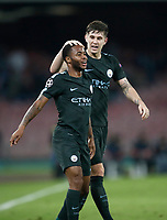 Football Soccer: UEFA Champions League Napoli vs Mabchester City San Paolo stadium Naples, Italy, November 1, 2017. <br /> Manchester City's Raheem Sterling (l) celebrates with his teammate John Stones (r) after scoring during the Uefa Champions League football soccer match between Napoli and Manchester City at San Paolo stadium, November 1, 2017.<br /> UPDATE IMAGES PRESS/Isabella Bonotto