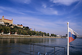 Bratislava, Slovakia. Bratislava Castle and the buildings along the Danube.