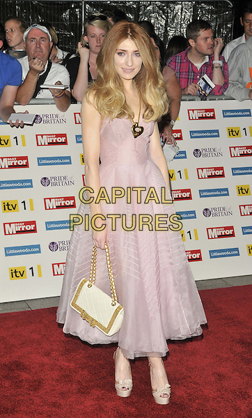 Nicola Roberts.'The Daily Mirror's Pride Of Britain Awards 2011' at Grosvenor House Hotel, London, England..3rd October 2011.full length pink purple dress tulle white gold bag clutch  .CAP/CAN.©Can Nguyen/Capital Pictures.