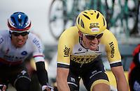 Sep Vanmarcke (BEL/LottoNL-Jumbo) biting hard over the Lange Munte cobbles<br /> <br /> Omloop Het Nieuwsblad 2015