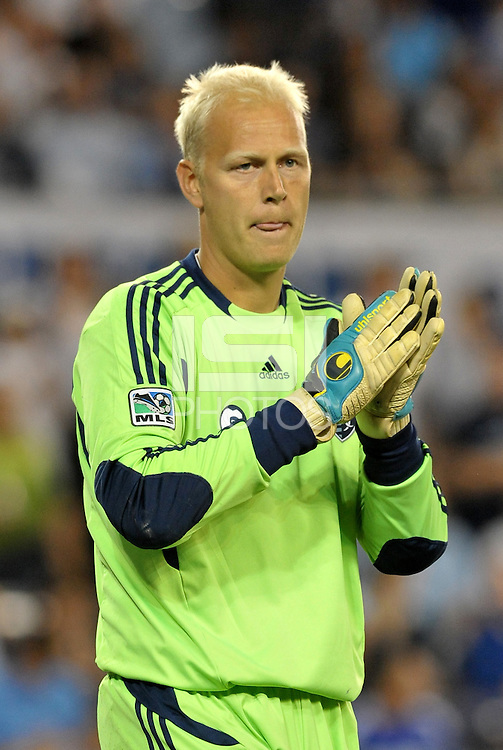 Sporting KC goalkeeper Jimmy Nielsen... Sporting Kansas City defeated Columbus Crew 2-1 at LIVESTRONG Sporting Park, Kansas City, Kansas.