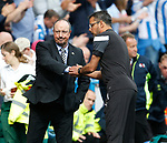 Rafael Benitez manager of Newcastle United and David Wagner manager of Huddersfield Town  shake hands on the final whistle during the premier league match at the John Smith's Stadium, Huddersfield. Picture date 20th August 2017. Picture credit should read: Simon Bellis/Sportimage