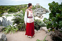 Chef Patricia Quintana at the Mayan Ruins of Tulum, Quintana Roo, Yucatan, Mexico