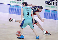 Caja Laboral Baskonia's Nemanja Bjelica (r) and FC Barcelona Regal's Marcelinho Huertas during Spanish Basketball King's Cup semifinal match.February 07,2013. (ALTERPHOTOS/Acero) /NortePhoto