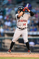 Indianapolis Indians outfielder Jaff Decker (14) at bat during a game against the Rochester Red Wings on July 26, 2014 at Frontier Field in Rochester, New  York.  Rochester defeated Indianapolis 1-0.  (Mike Janes/Four Seam Images)