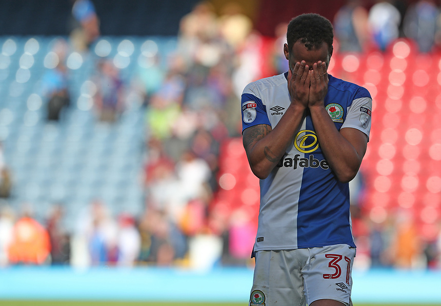 Blackburn Rovers' Elliott Bennett looks dejected at the end of the game<br /> <br /> Photographer Rachel Holborn/CameraSport<br /> <br /> The EFL Sky Bet League One - Blackburn Rovers v Doncaster Rovers - Saturday August 12th 2017 - Ewood Park - Blackburn<br /> <br /> World Copyright &copy; 2017 CameraSport. All rights reserved. 43 Linden Ave. Countesthorpe. Leicester. England. LE8 5PG - Tel: +44 (0) 116 277 4147 - admin@camerasport.com - www.camerasport.com