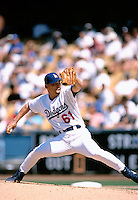 Chan Ho Park of the Los Angeles Dodgers participates in a Major League Baseball game at Dodger Stadium during the 1998 season in Los Angeles, California. (Larry Goren/Four Seam Images)