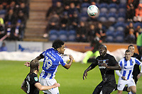 Mikael Mandron of Colchester United heads for goal during Colchester United vs Aston Villa, Caraboa Cup Football at the Weston Homes Community Stadium on 9th August 2017