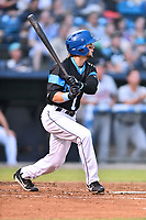 Asheville Tourists center fielder Matt Hearn (1) swings at a pitch during a game against the Rome Braves at McCormick Field on September 2, 2018 in Asheville, North Carolina. The Braves defeated the Tourists 2-1. (Tony Farlow/Four Seam Images)