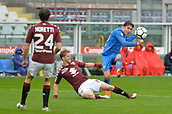 18th March 2018, Stadio Olimpico di Torino, Turin, Italy; Serie A football, Torino versus Fiorentina; Federico Chiesa has a shot at goal before the slide tackle comes in