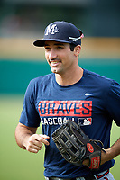 Mississippi Braves Keith Curcio (14) before a game against the Montgomery Biscuits on April 24, 2017 at Montgomery Riverwalk Stadium in Montgomery, Alabama.  Montgomery defeated Mississippi 3-2.  (Mike Janes/Four Seam Images)