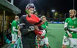 AMSTELVEEN - keeper Dave Harte (IRE)  met Conor Harte (IRE)  voor    de hockeyinterland Nederland-Ierland (7-1) , naar aanloop van het WK hockey in India.  COPYRIGHT KOEN SUYK