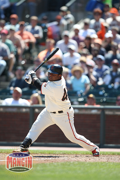 SAN FRANCISCO - AUGUST 24:  Pablo Sandoval of the San Francisco Giants bats during the game against the San Diego Padres at AT&T Park in San Francisco, California on August 24, 2008.  The Giants defeated the Padres 7-4.  Photo by Brad Mangin
