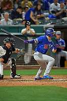Gavin Lux (55) of the Oklahoma City Dodgers at bat against the Salt Lake Bees at Smith's Ballpark on July 31, 2019 in Salt Lake City, Utah. The Dodgers defeated the Bees 5-3. (Stephen Smith/Four Seam Images)
