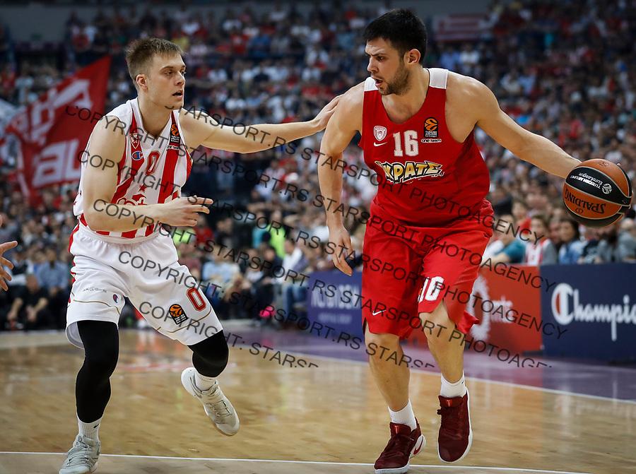 Kosarka Euroleague season 2016-2017<br /> Crvena Zvezda v Olympiacos (Athens)<br /> Kostas Papanikolaou and Nathan Wolters (L)<br /> Beograd, 22.03.2017.<br /> foto: Srdjan Stevanovic/Starsportphoto &copy;
