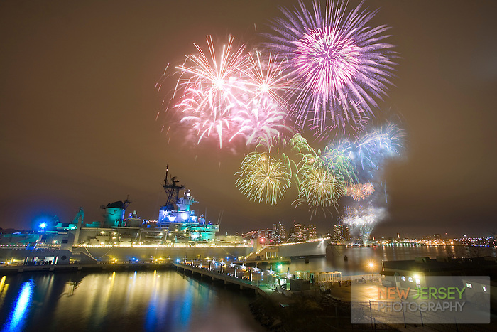 New Year's Eve Fireworks over the Battleship USS New Jersey, Camden Waterfront, Delaware River, New Jersey