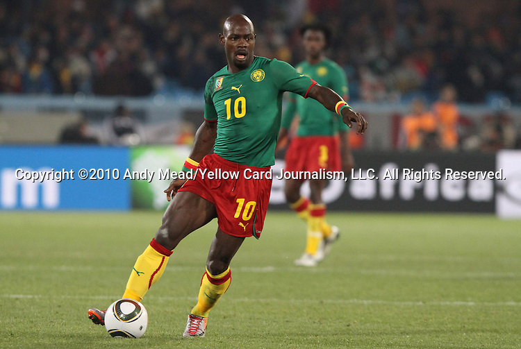 19 JUN 2010: Achille Emana (CMR). The Cameroon National Team lost 1-2 to the Denmark National Team at Loftus Versfeld Stadium in Tshwane/Pretoria, South Africa in a 2010 FIFA World Cup Group E match.