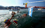 GUADALAJARA, MEXICO - OCTOBER 22:  Swimmers take nutrition at the boat during the Open Water Swimming competition on Day Seven of the XVI Pan American Games on October 22, 2011 in Puerto Vallarta, Mexico.  (Photo by Donald Miralle for Mexsport) *** Local Caption ***
