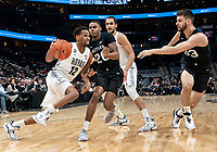 WASHINGTON, DC - JANUARY 28: Terrell Allen #12 of Georgetown heads towards Bryce Golden #33 of Butler during a game between Butler and Georgetown at Capital One Arena on January 28, 2020 in Washington, DC.