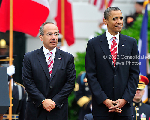 United States President Barack Obama welcomes President Felipe Calderón of Mexico to the White House for a State Visit on Wednesday, May 19, 2010..Credit: Ron Sachs / CNP