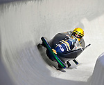 5 January 2008: Three time Powerade Pro Stock NHRA Champion Jeg Coughlin banks a turn at the 3rd Annual Chevy Geoff Bodine Bobsled Challenge at the Olympic Sports Complex on Mount Van Hoevenberg, in Lake Placid, New York. Coughlin finished third to take the bronze medal in the morning competition...Mandatory Photo Credit: Ed Wolfstein Photo