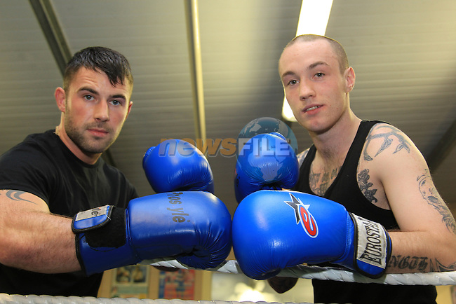 David Connolly and Joseph MeKenna at the Launch of the white collar boxing in  aid of the DAR in the Holy Family boxing club..Picture: Fran Caffrey/www.newsfile.ie.