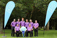 Carton House Team Captain Brian Cunningham Club Captain Paul Hanley team members Des Morgan, Gary McDermott, Jack Doherty, Sean O'Connor, Colin Cunningham and Paul O'Hanlon Leinster Senior Cup Winners 2017 after the 2017 Leinster Senior Cup Final at Malahide Golf Club.. 27/08/2017<br />