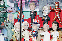 Figurines of Republican and Democratic presidential nominees Donald Trump and Hillary Clinton were on display at souvenir shops near Times Square in New York, New York, on Mon., Nov. 7, 2016.