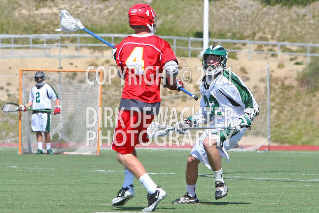 San Diego, CA 05/21/11 - Bobby Ferrar (Coronado #22) and Cole Bollman (Cathedral Catholic #4) in action during the 2011 CIF San Diego Section Division 2 Varsity Lacrosse Championship between Cathedral Catholic and Coronado.