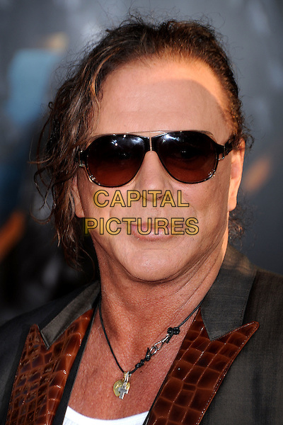 "MICKEY ROURKE .""Iron Man 2"" World Premiere held at the El Capitan Theatre, Hollywood, California , USA, .26th April 2010..arrivals portrait headshot  grey gray sunglasses grey gray brown lapel necklace white vest croc suit jacket .CAP/ADM/BP.©Byron Purvis/AdMedia/Capital Pictures."